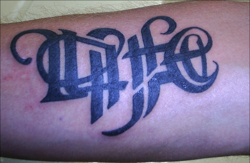 Tatto on Life Death Ambigram Tattoo